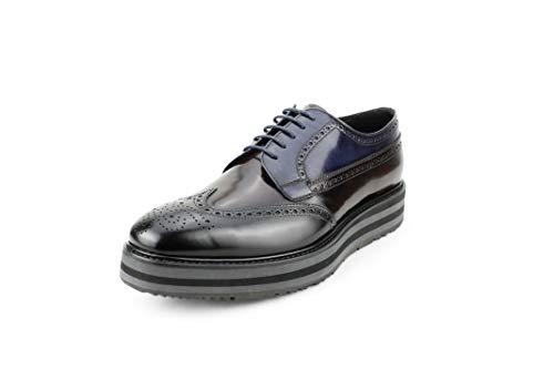 - Prada Men's Spazzolato Leather Platform Brogue Creeper Derby, Black/Cordovan/Blue 2EG015 (11 M US)