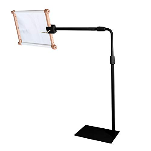Neatfi Needlework Floor Stand with Side Clamp, Excellent for Sewing, Knitting and Stitching, Fully Adjustable, Strong and Stable, Industrial Strength, Easily Assembled (Black)