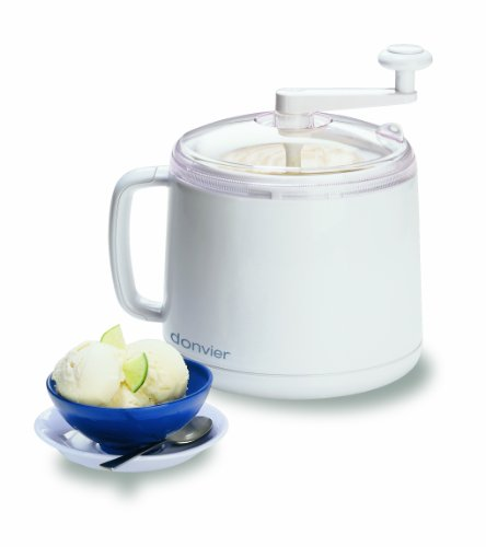 Donvier 837450 Manual Ice Cream Maker, 1-Quart, White by Donvier