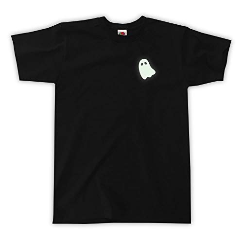 Outsider. Men's Unisex Ghost (Glow in The Dark Print) T-Shirt - Black - X-Large ()