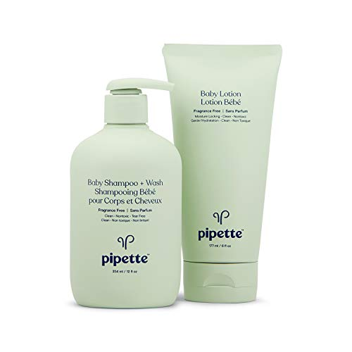 Pipette Baby Bathtime Duo Baby Wash Tear-Free and Moisturize Set with Renewable Plant-Derived Squalane (3-Piece Set)