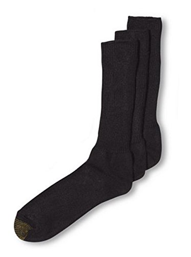 - Gold Toe ADC Acrylic Fluffies 3 Pack Crew Casual Men's Socks-Black