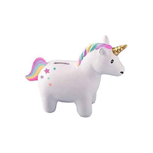- Two's Company Rainbow Unicorn 6 x 5 Inch Ceramic Coin Bank in Gift Box