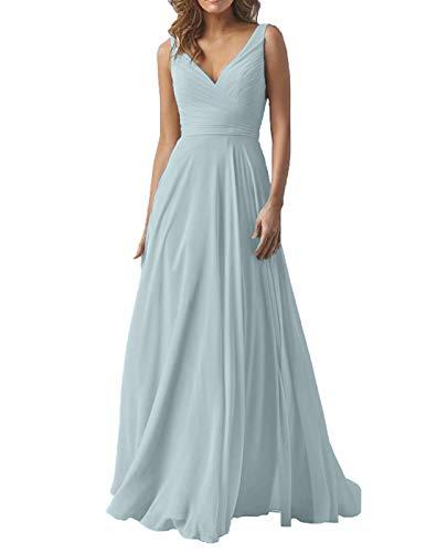 Mist Blue Wedding Bridesmaid Dresses Long V-Neck Chiffon Formal Evening Party Dress for Women 2019