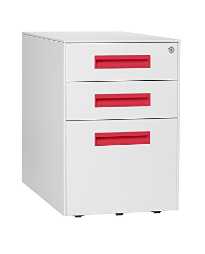 Stockpile Square Mobile 3-Drawer File Cabinet (White/Bright Red)