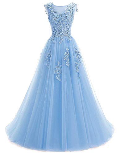 (Ever Girl Women's Sweep Lace Appliques Scoop Collar Tulle A-Line Prom Dresses Sky Blue US12)