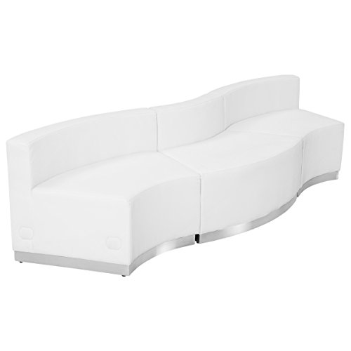 (Flash Furniture HERCULES Alon Series Melrose White Leather Reception Configuration, 3 Pieces)