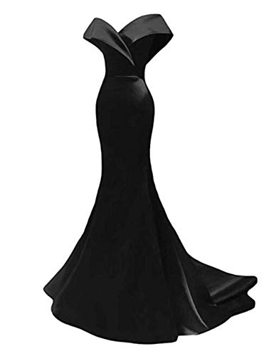 Black Satin Evening Dress - Off The Shoulder Mermaid Prom Dresses 2019 Long Satin Evening Dresses Formal Party Gowns for Women Black