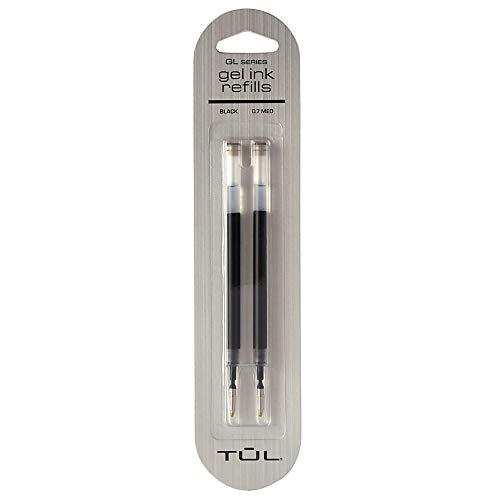 TUL Gel Pen Refills, Medium Point, 0.7 mm, Black Ink, Pack of 2 Refills