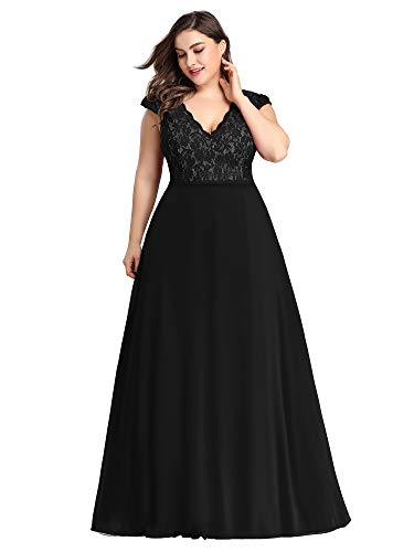 Ever-Pretty Women's Plus Size A-Line V-Neck Floor Length Wedding Guest Dresses Black US16