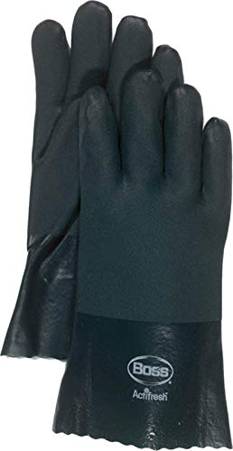 - Boss Gloves 1712 Large RuffGrip Gauntlet PVC Coated Gloves