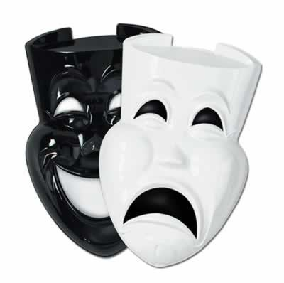 Plastic Comedy & Tragedy Faces (asstd black & white) Party Accessory  (1 count)