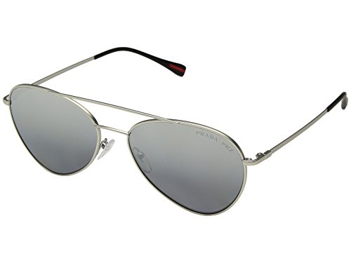 Prada Linea Rossa  Men's 0PS 50SS Matte Silver/Polarized Grey Mirror Silver One - Linea Polarized Prada Rossa
