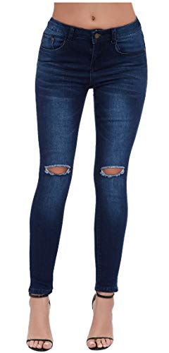 Women's High Waisted Butt Lift Stretch Ripped Skinny Jeans Distressed Denim Pants Blue 33 US ()
