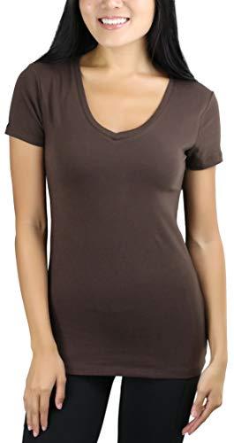 ToBeInStyle Women's Short Sleeve V-Neck Basic T-Shirt - Americano - L ()