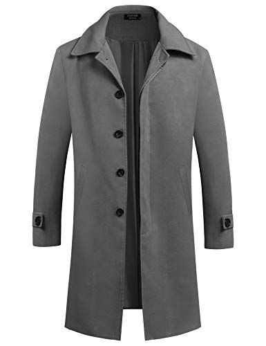 COOFANDY Men's Woollen Duffle Trench Coat Cotton Toggle Winter Hoodie Overcoat Jacket