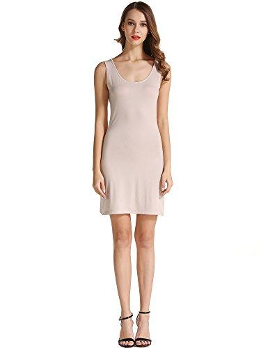 HuHot Women's Classic Scoop Neck Sleeveless Summer Mini Tank Dress X-Large Nude