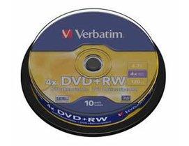 Verbatim DVD+RW 4.7Gb 4x Spindle 10 No 43488 rewritable blank dvd dvd+rw by Verbatim