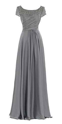 Factoryoffers Mother Of The Bride Long A line prom dress AM5, Grey, 6