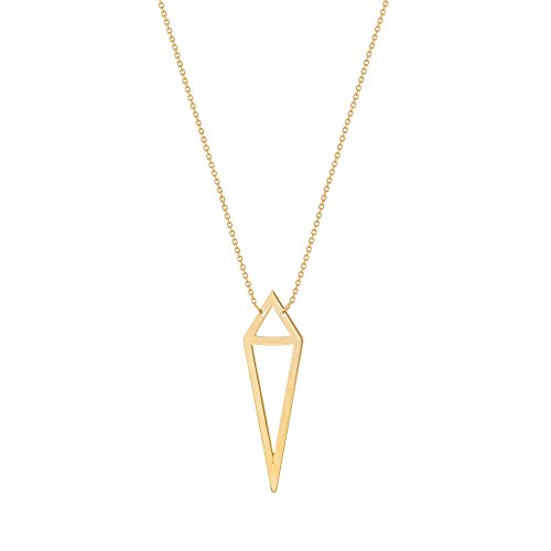 Kite 14k Gold (Bianca 14k Yellow Gold Kite-shape Double Pyramid Necklace Adjustable Length)