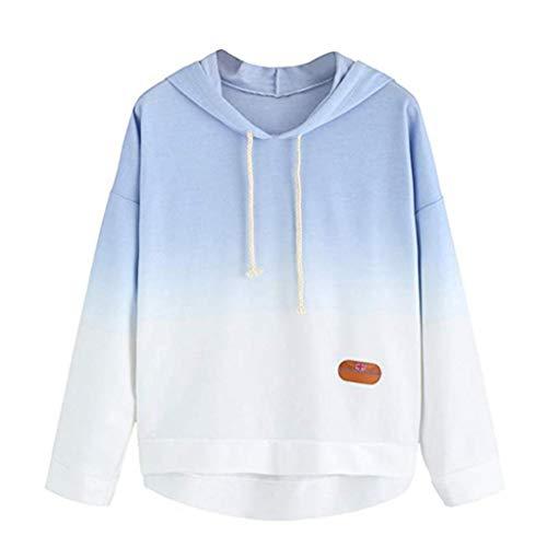 Women's Hoodie Printed Patchwork Sweatshirt Long Sleeve Pullover Tops Blouse (L, Blue)