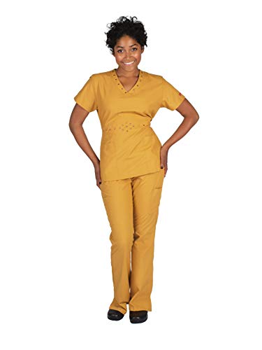 Reina 1211 V-Neck top with dot Embroidery, tie in Back, and Cargo Pants Scrub Set (Mustard, XS Petite)