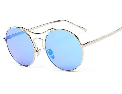GAMT Vintage Mirrored Colored Lens Unisex Sunglasses Round Metal Frame Blue (Hippie Framed Sunglasses)