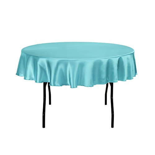 LinenTablecloth 70-Inch Round Satin Tablecloth Turquoise