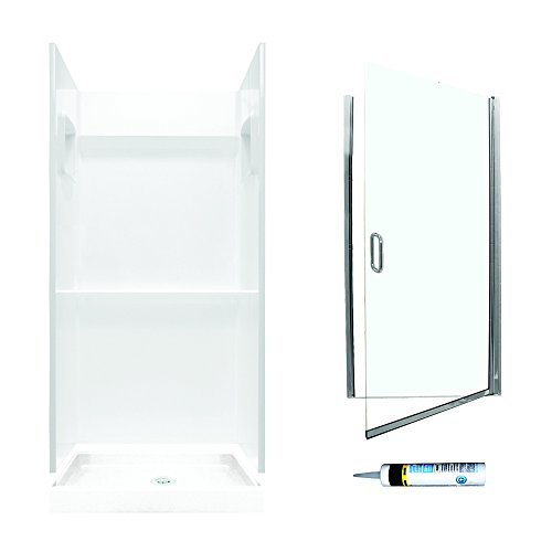 Swanstone SVP3232010-M28570CC Veritek Alcove Shower Kit 32-Inch x 32-Inch x 72-Inch with Frameless Chrome Door and Clear Glass, -