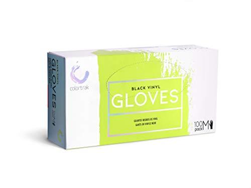 Colortrak Disposable Powder Free Vinyl Gloves, Black, M (Pack of 2)