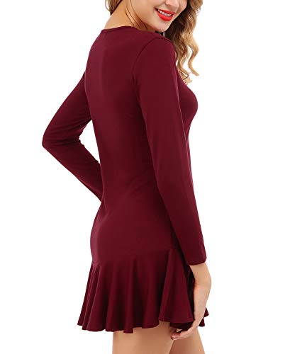 Swing with Wine Red Loose Women's Dress Hem Pockets Dress Casual Ruffle FISOUL Midi R0z0q