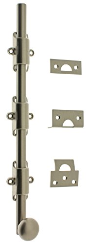 idh by St. Simons 11278-015 Premium Quality Solid Brass Heavy Duty Surface Bolt with Round Knob, 12-Inch, Satin Nickel