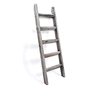 Blanket Ladder 5 ft. Premium Wood Rustic Decorative Quilt Ladder. Gray White Vintage Wooden Decor. Throw Blankets Holder…
