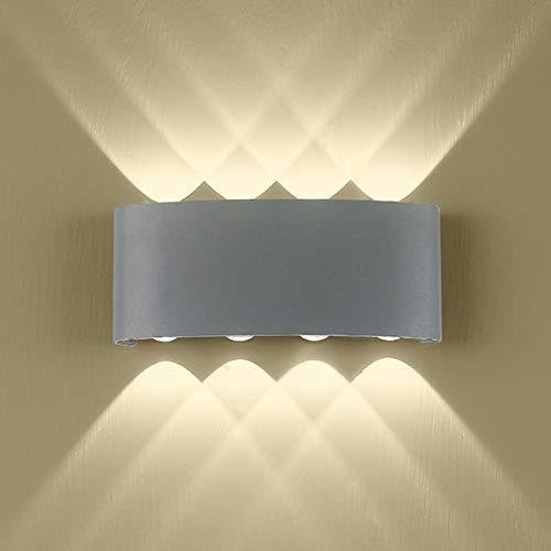 Outdoor Wall Light, Modern Gray LED Wall Light, 8 Leds Arc Up Down Wall Lamp 16W Aluminium Wall Lamp for Living Room…