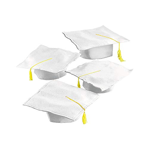 Fun Express White Graduation Cap for Children - Perfect for Your Preschool or Daycare Grad Ceremony - Package of 12 Hats -