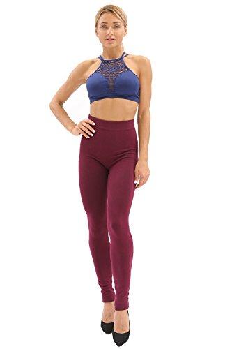2 Pairs Women's Full Length Premium High Waist Leggings-813 Red WineS/M