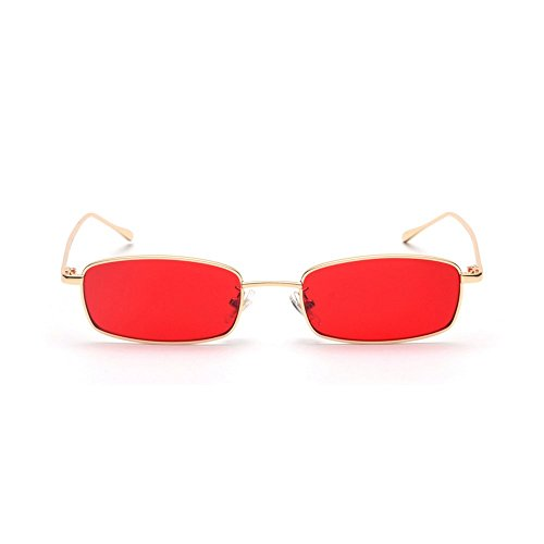 MINCL/Unisex Small Rectangle Sunglasses Red lens Yellow Metal Frame Clear Lens Sun Glasses - Frame Sunglasses Rectangle