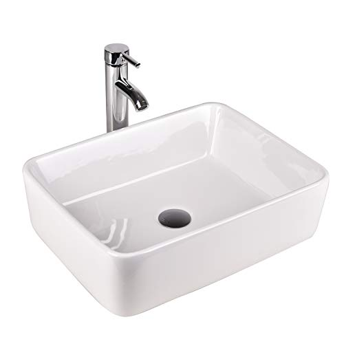 YOURLITE Rectangular Ceramic Vessel Sink and Faucet Combo above Counter White Countertop Sink Art Basin Wash Basin for Lavatory Vanity Cabinet