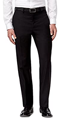 Calvin Klein Slim Fit Black Solid Wool Flat Front New Men's Dress Pants