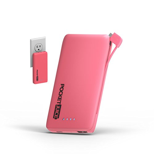 Tzumi PocketJuice Endurance AC - Mini Portable Smart Device Battery Pack Charger - 4,000 mAh High-Speed Single USB Port - Works With All iPhone And Android Devices & Includes Micro USB Cable - Pink