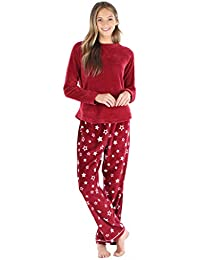 Women's Fleece Long Sleeve Pajama PJ Set