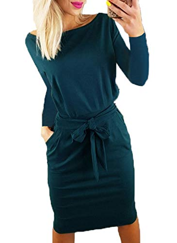 PRETTYGARDEN Women's 2018 Casual Long Sleeve Party Bodycon Sheath Belted Dress with Pockets (Y-Dark Green, Small)