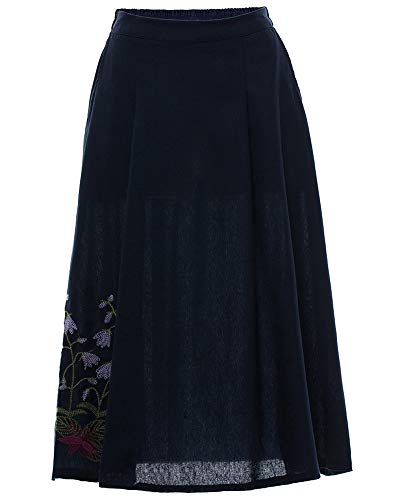 Line Vintage A Elegant Rtro Jupe Haute Robe Femmes Pliss Fleur8 Jupes Taille Longue Elastique nFPAA1