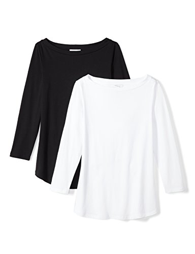 Daily Ritual Women's Lightweight 100% Supima Cotton 3/4-Sleeve Boat Neck T-Shirt, 2-Pack, XL, Black/White (Neck Boat Tee Knit)