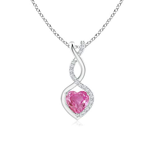 Pink Sapphire Infinity Heart Pendant with Diamonds in 14K White Gold (5mm Pink Sapphire) ()