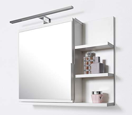 DOMTECH Badkamer spiegelkast met planken en ledverlichting, badkamerspiegel, witte spiegelkast, R