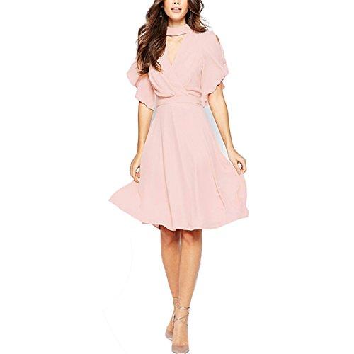 Robe Femmes IHRKleid® Elegant Col V profond Lady robe Decontractee robe d'ete
