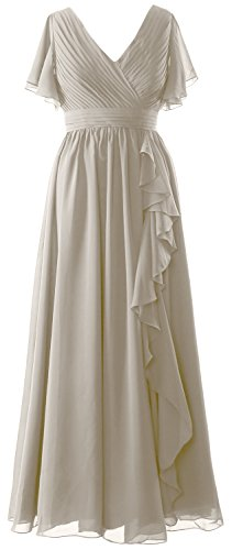 Les Femmes Macloth Mère Manches Courtes De La Robe De Mariée Col V Argent Robe De Soirée Formelle