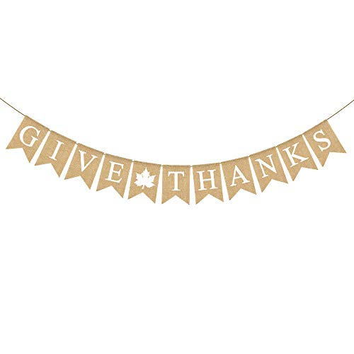 Rainlemon Give Thanks Burlap Garland Bunting Banner Happy Thanksgiving Day Party Home Decoration -