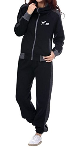 Suit Fleece Athletic (X-2 Women Athletic Full Zip Fleece Tracksuit Jogging Sweatsuit Activewear Hooded Top Black L)